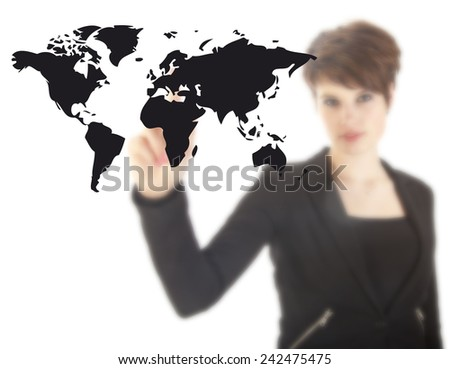 Young woman with black world map isolated on white background - stock photo