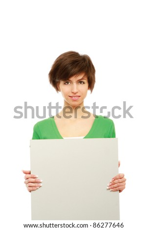 Young woman with blank banner isolated on white background - stock photo