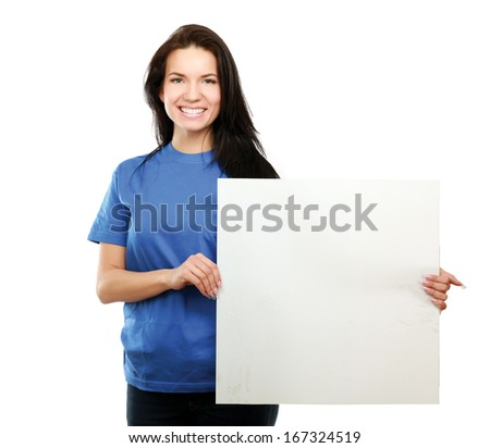 Young woman with blank board banner, isolated on white background - stock photo