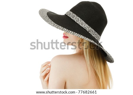 Young woman with blond long hair in hat isolated over white background - stock photo