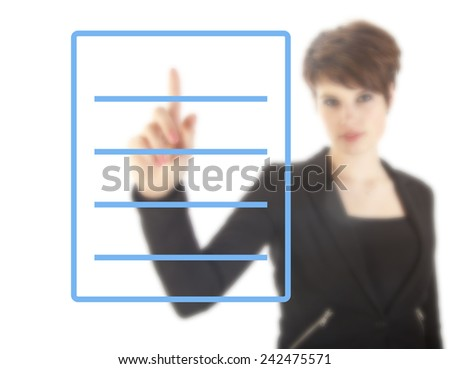 Young woman with blue checklist isolated on white background - stock photo
