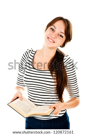 young woman with book isolated on a white background - stock photo
