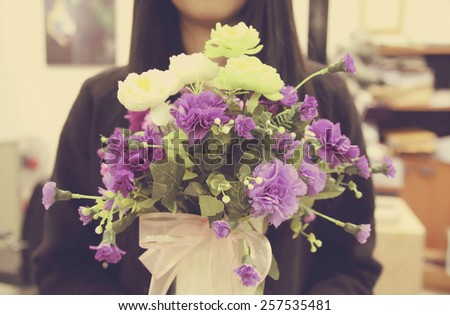 How you can find a Postal mail Order Woman stock photo young woman with bouquet of flower retro filter effect 257535481