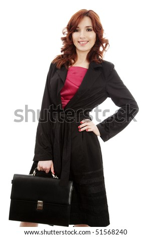 young woman with briefcase - stock photo