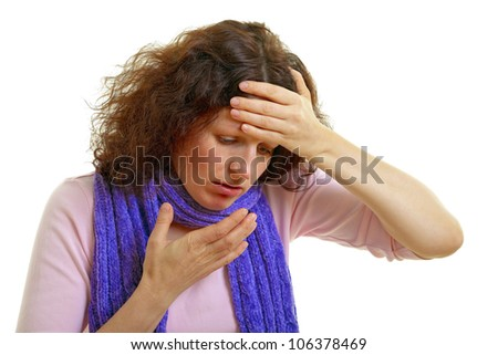 Young woman with brown hair has a flu and headache, isolated on white background, studio shot. - stock photo