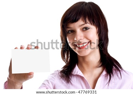 young woman with business card on a white background