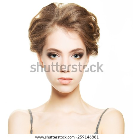 Young woman with clear healthy skin - stock photo