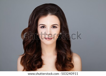 Young Woman with Clear Skin and Healthy Hair. Skincare Concept