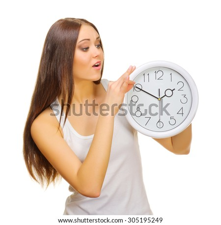 Young woman with clock isolated