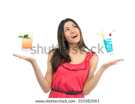 Young woman with cocktails margarita and tropical cocktail ready for happy hours on a white background - stock photo