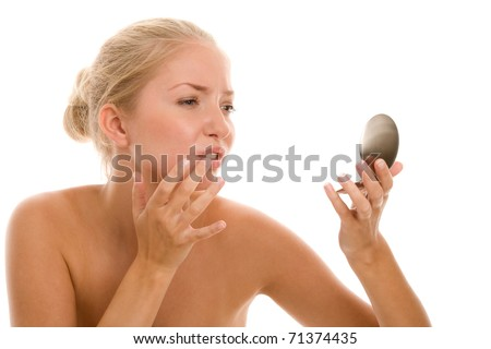 Young woman with cold sore on lips - stock photo