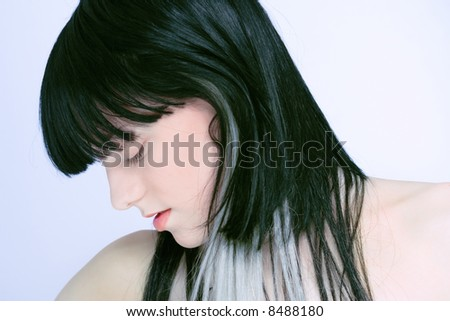 young woman with colored hair - stock photo