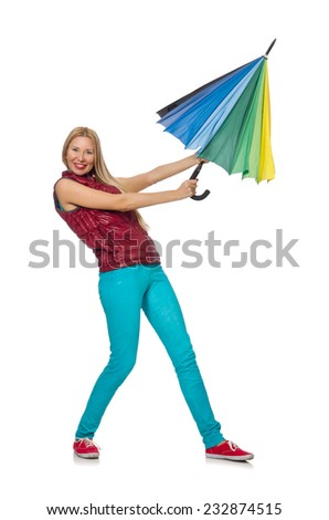 Young woman with colourful umbrella isolated on white - stock photo