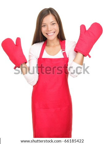 Young woman with cooking mittens isolated on white background. Asian / Caucasian woman happy. - stock photo