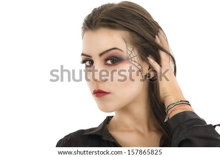 Young woman with creative makeup. Beauty. Halloween