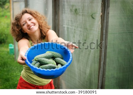 Young woman with crop of cucumbers in garden (focus on cucumbers)