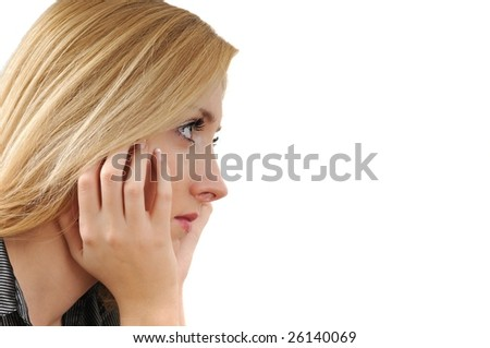 Young woman with depression - head in hands isolated on white background