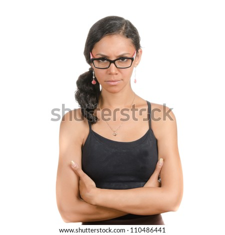 Young woman with different facial expressions. Body language. Angry, defensive, protective, upset. Isolated on white . - stock photo