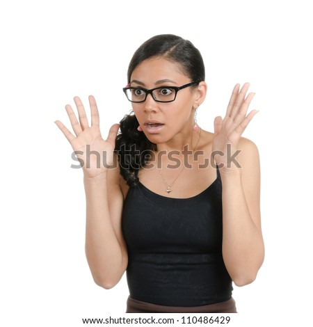Young woman with different facial expressions. Body language. Surprised, shocked, confused . Isolated on white . - stock photo