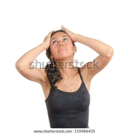 Young woman with different facial expressions. Body language. Tired, bored, sick, upset. Isolated on white . - stock photo
