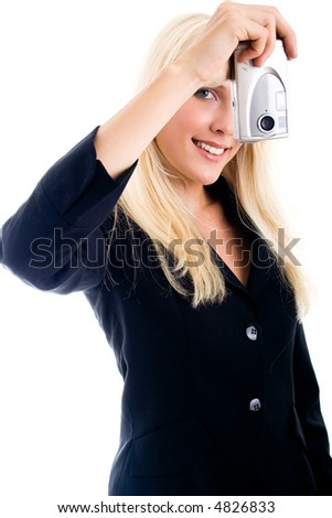 young woman with digital camera - stock photo