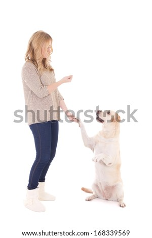 young woman with dog isolated on white background