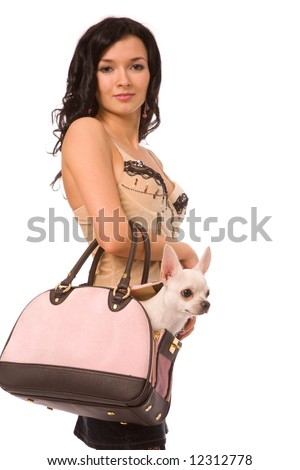young woman with doggy on a white background