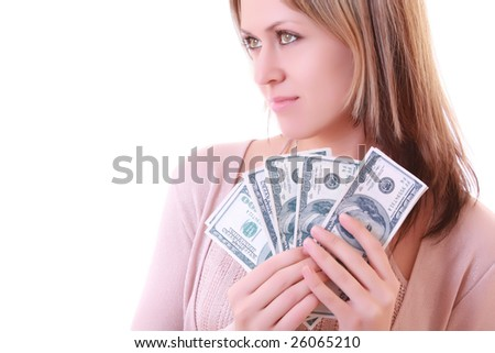 Young woman with dollars