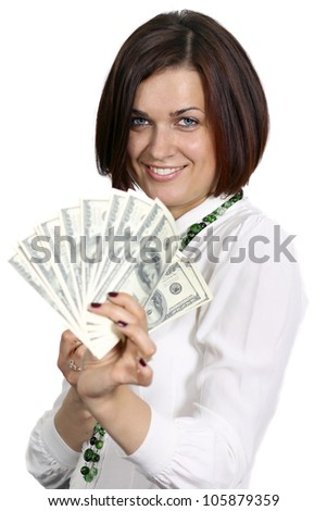young woman with dollars in hand on white background - stock photo