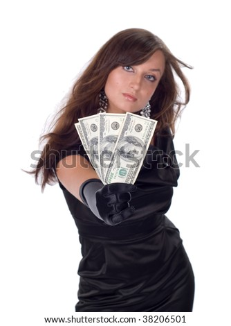 Young woman with dollars in her hands isolated on white
