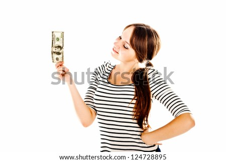 young woman with dollars isolated on a white background - stock photo