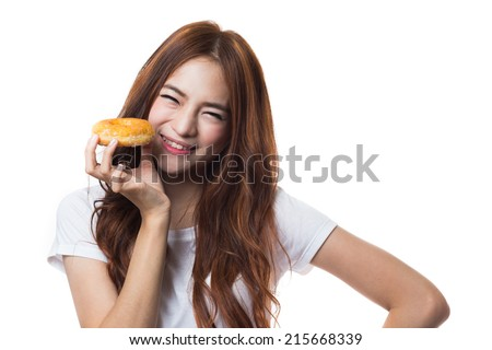 Young woman with donut on white background