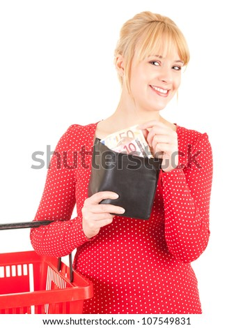 young woman with euro bills in wallet, white background