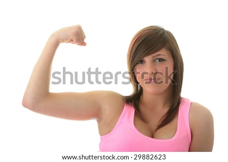 Young woman with expression portrait  - strong girl - stock photo