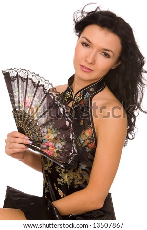 young woman with fan on a white background
