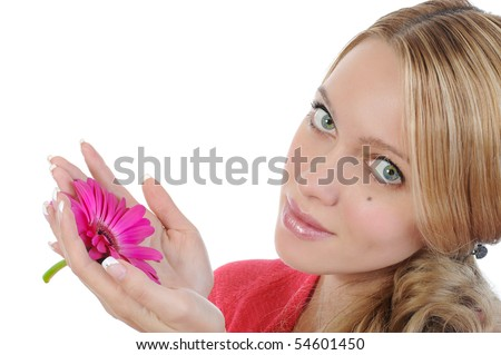 Young woman with flower in her hand. Isolated on white background - stock photo
