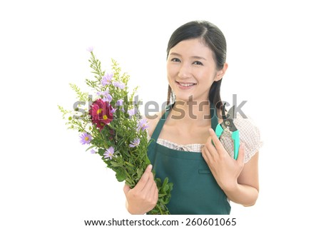 Young woman with flowers.