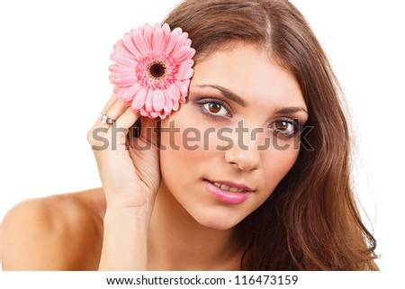 Young woman with flowers isolated on white background - stock photo