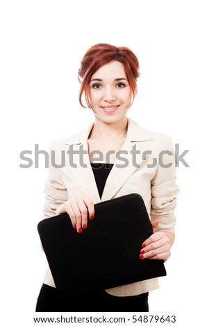 young woman with folder