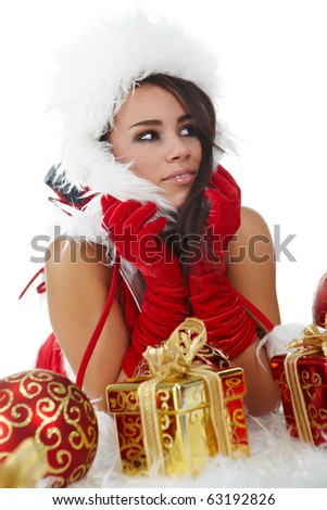 young woman with gift box - stock photo