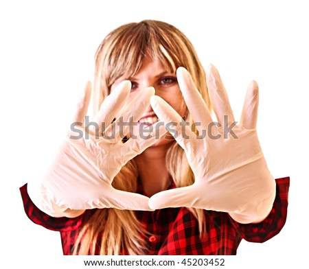 Young woman with gloves isolated on white