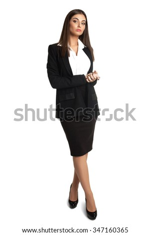 Young woman with good figure wearing business suit