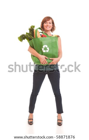 Young woman with green bag of healthy food and vegetables