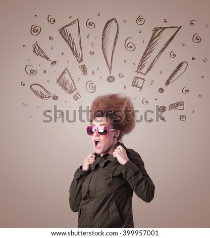 Young woman with hair style and hand drawn exclamation signs concept on background - stock photo