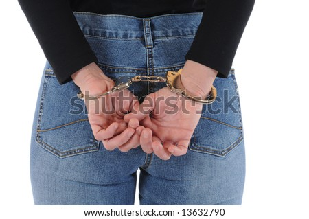 Young woman with handcuffs