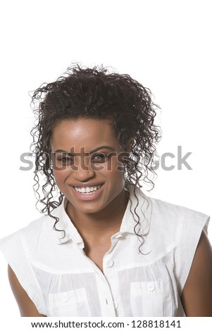 Young woman with happy smile - stock photo