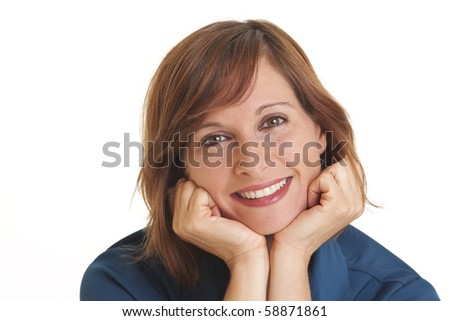 Young woman with head in hands - stock photo
