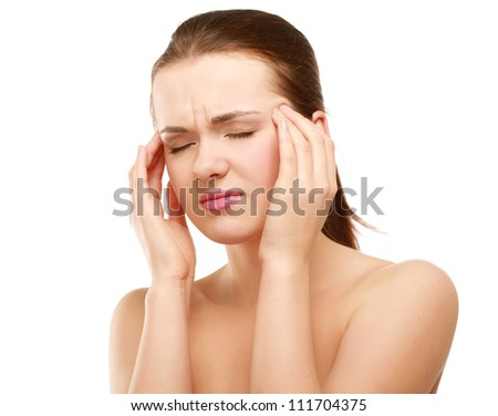 Young woman with head pain on white background