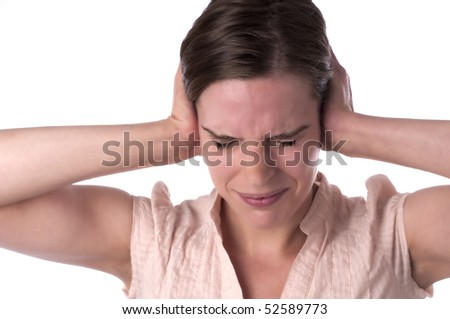 Young woman with headache, feeling sick. Isolated on white background