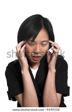 young woman with headache over white background